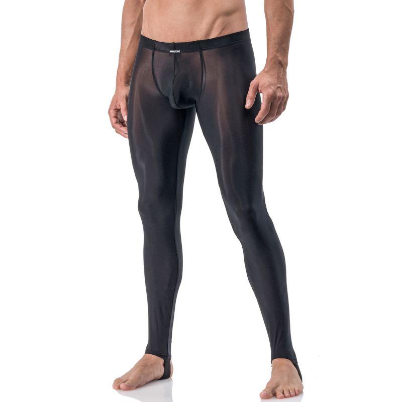 Pantalon leggings noir strapped en tulle fin transparent ...