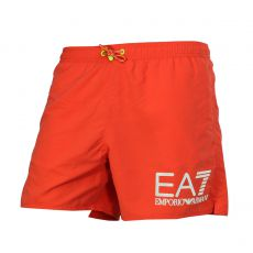 SHORT DE BAIN COURT ORANGE FLUO GRAND LOGO - EA7