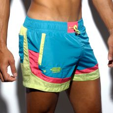 SHORT DE BAIN VERT/JAUNE FRED ROUND SIDES 1651 - ES COLLECTION