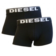 DIESEL LOT DE 2 BOXERS NOIR ESSENTIAL COTTON STRETCH