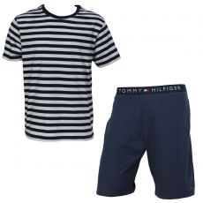 TENUE D INTERIEURE NAVY RAYE MARIN BERMUDA + T-SHIRT MANCHES COURTES  - TOMMY HILFIGER