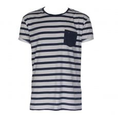 T-SHIRT RAYE NAVY MANCHES COURTES COL ROND - TOMMY HILFIGER