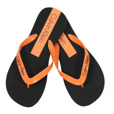 CLAQUETTES / TONGS  NOIR / ORANGE  - CALVIN KLEIN