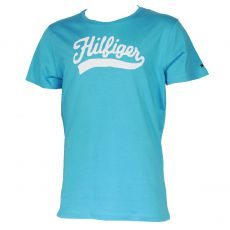 T-SHIRT TURQUOISE MANCHES COURTES COL ROND HILFIGER BLANC - TOMMY HILFIGER