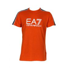 T SHIRT ORANGE COL ROND COTON - EA7