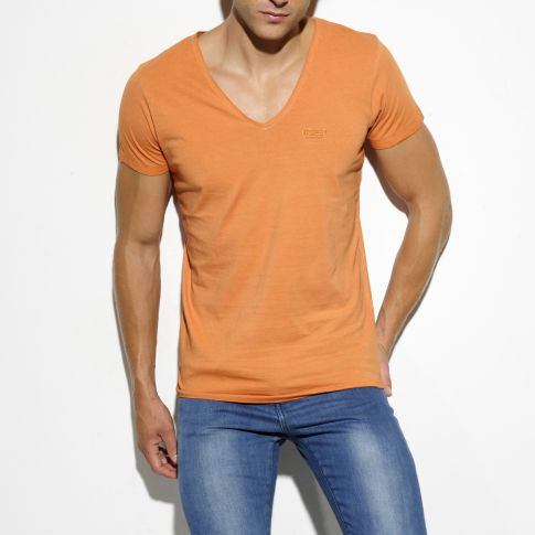 T-SHIRT EMBRODERY ORANGE COL V TS143 - ES COLLECTION