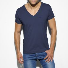 T-SHIRT EMBRODERY NAVY COL V TS143 - ES COLLECTION