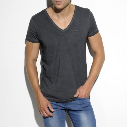 T-SHIRT EMBRODERY GRIS COL V TS143 - ES COLLECTION