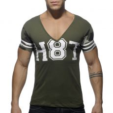 T-SHIRT KAKI H8T COL V  AD389 - ADDICTED