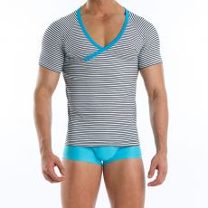 T-SHIRT  SAILOR NARROW BORDURES TURQUOISE COL EN V 06641  - MODUS VIVENDI