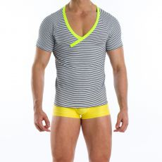T-SHIRT  SAILOR NARROW BORDURES JAUNE COL EN V 06641  - MODUS VIVENDI