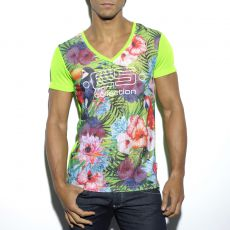 T-SHIRT TROPICAL VERT  EN MESH COL V TS163 - ES COLLECTION