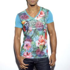 T-SHIRT TROPICAL TURQUOISE EN MESH COL V TS163 - ES COLLECTION