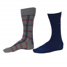 CHAUSSETTE PACK 2 PAIRES GRIS / PETROLE RAYE - TOMMY HILFIGER