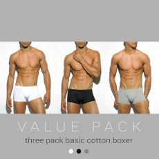 PACK DE 3 BOXERS COTON BASIC  GRIS/NOIR/BLANC UN185P - ES COLLECTION
