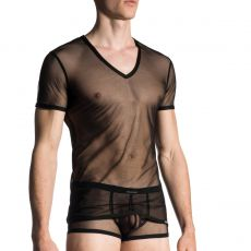 T-SHIRT  MANCHES COURTES NOIR EN TULLE FIN TRANSPARENT CHEEKY M660 - MANSTORE