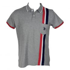 POLO GRIS BANDES TRICOLOR - US POLO