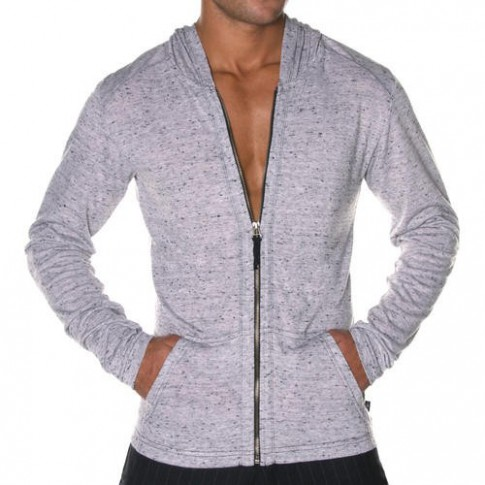 ANDREW CHRISTIAN T-SHIRT GILET MANCHE LONGUE 5097 COSMOPOLITAN SKINNY GRIS
