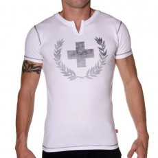 ANDREW CHRISTIAN T-SHIRT 1886 LAUREL CORSS INSIDE BLANC