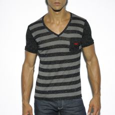 T-SHIRT STRIPES NOIR COL V EN VISCOSE TS189 - ES COLLECTION