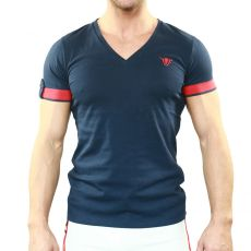 T-SHIRT NAVY BRAVE COL V - TOF PARIS
