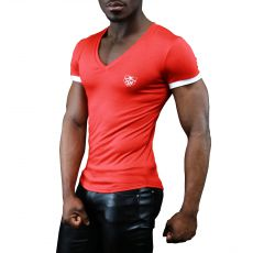 T-SHIRT ROUGE  HOLLO EN VISCOSE - TOF PARIS