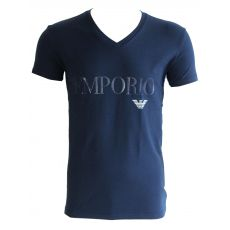 T-SHIRT NAVY MANCHES COURTES COL  V LOGO SILICONE - ARMANI
