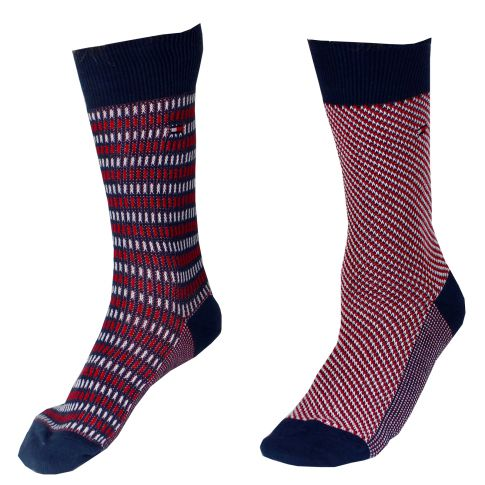 CHAUSSETTE PACK 2 PAIRES GROSSES MAILLES ROUGES ET NAVY/ROUGE A RAYURES - TOMMY HILFIGER