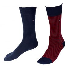 CHAUSSETTE PACK 2 PAIRES NAVY / ROUGES PETITES RAYURES - TOMMY