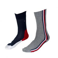 CHAUSSETTES PACK 2 PAIRES GRIS  ET NAVY ICONIC IDDEN  - TOMMY