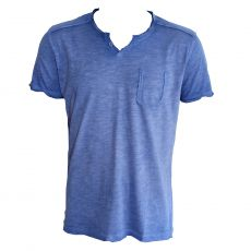 T-SHIRT GRUNGE STRONG BLUE COL TUNISIEN - KAPORAL