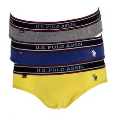 PACK DE 3 SLIPS BASICS JAUNE/NAVY/GRIS TRICOLOR HIP - US POLO ASSN