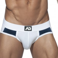 SLIP MICROFIBRE VELVET COMBI BRIEF BLANC AD599 - ADDICTED