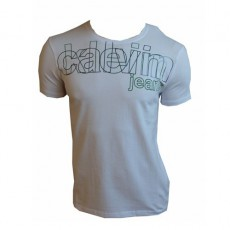 CALVIN KLEIN JEANS T-SHIRT CREW NECK BLANC