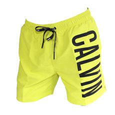 SHORT DE BAIN  MEDIUM DRAWSTRING JAUNE LARGE LOGO VERTICAL KM0KM00150 - CALVIN KLEIN