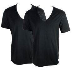 PACK DE 2 T-SHIRT NOIR NECK SLIM FIT COL V NU8698A - CALVIN KLEIN