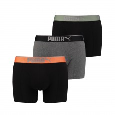 LOT DE 3 BOXERS LIFESTYLE SUEDED COTTON NOIR ET GRIS - PUMA