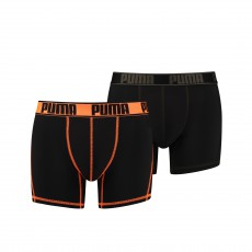 LOT DE 2 BOXERS ACTIVE NOIR ET ORANGE - PUMA