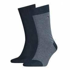CHAUSSETTE PACK 2 PAIRES GRIS BLEU PETITES RAYURES - TOMMY