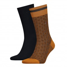 LOT DE 2 CHAUSSETTES BASKET KNIT SOCK UNIS ET A MOTIF NOIR ET ORANGE - TOMMY
