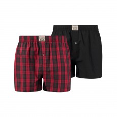 LOT DE 2 CALECONS BLACKWATCH CHECK UNIS ET A CARREAUX, ROUGE ET NOIR - LEVIS