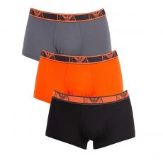 PACK DE 3 BOXERS COURTS MONOGRAM NOIR, ORANGE ET GRIS - EMPORIO ARMANI