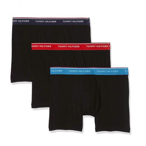 PACK DE 3 BOXERS PREMIUM ESSENTIALS NOIR CEINTURE MARINE/ROUGE/BLEU UM0UM00010-064 - TOMMY HILFIGER