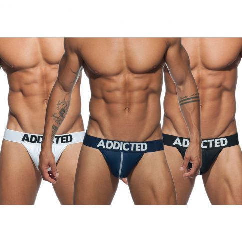 PACK DE 3 STRINGS MESH THONG PUSH UP BLANC/MARINE/NOIR AD732P - ADDICTED