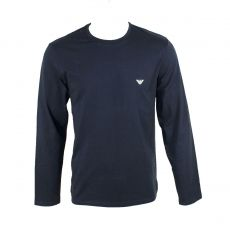 TEE SHIRT MANCHES LONGUES ICONIC TERRY COL ROND BLEU MARINE 8A595 - EMPORIO ARMANI