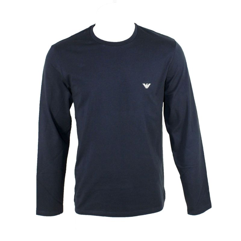 27ad692354e96 TEE SHIRT MANCHES LONGUES ICONIC TERRY COL ROND BLEU MARINE 8A595 - EMPORIO  ARMANI. Loading zoom
