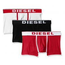 PACK DE 3 BOXERS COURTS DAMIEN THREE PACK COTON STRETCH BLANC/ROUGE/NOIR - DIESEL
