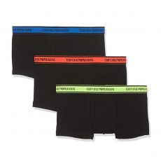 PACK DE 3 BOXERS COURTS STRETCH NOIR CEINTURE JAUNE/ORANGE/BLEU - EMPORIO ARMANI