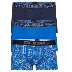 PACK DE 3 BOXERS COURTS DAMIEN THREE PACK COTON STRETCH MARINE/BLEU - DIESEL