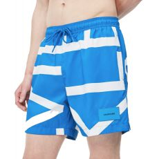 SHORT DE BAIN MEDIUM DRAWSTRING ABSTRACT IMPERIAL BLEU M00274  - CALVIN KLEIN